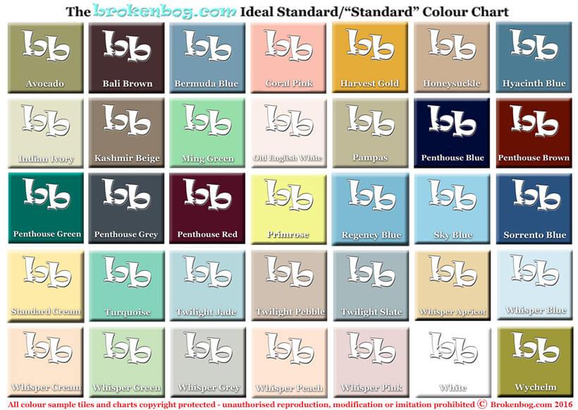 "Ideal Standard/""Standard"" Bathroom Colour Chart"